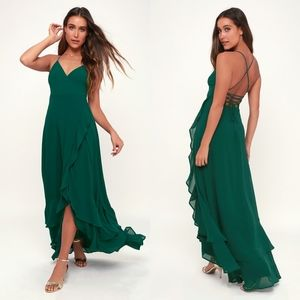 In Love Forever Emerald Green Lace-Up Hi-Lo DRESS